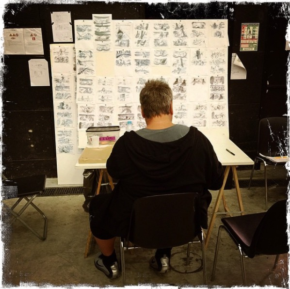 Another of Besson's Instagram posts from 2015 in which he contemplates the many storyboards during a pre-shoot.