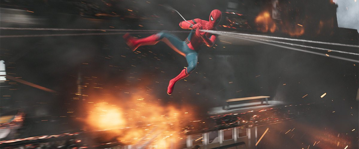Spider-Man leaps into action in this Digital Domain shot.