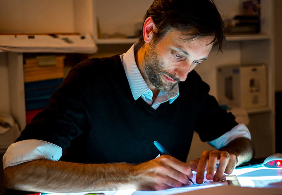 Sébastien Laudenbach animating. Photo: Vincent Josse.