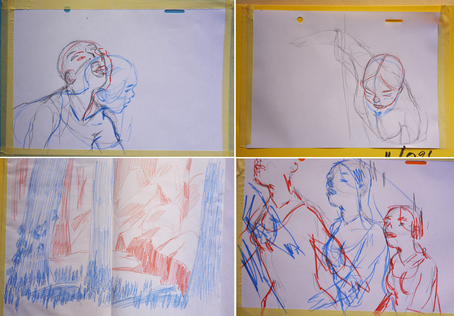"Layout drawings and keyframes from ""The Girl Without Hands."""