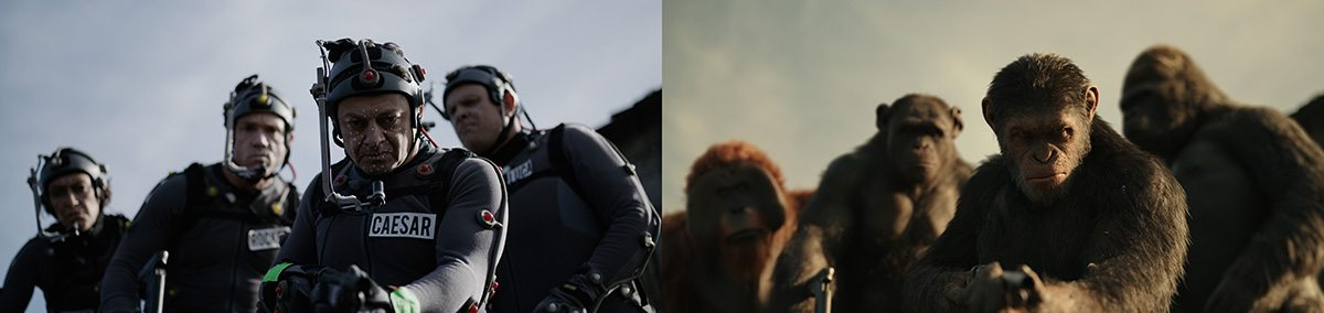 From left: Karin Konoval, Terry Notary, Andy Serkis and Michael Adamthwaite in motion capture suits, and the final frame from the film.
