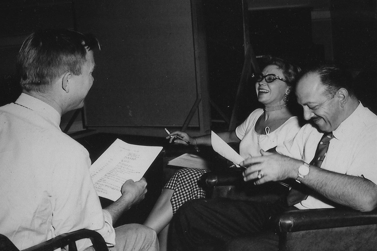 June Foray at a Warner Bros. recording session with Chuck Jones (left) and Mel Blanc, ca. mid-1950s.