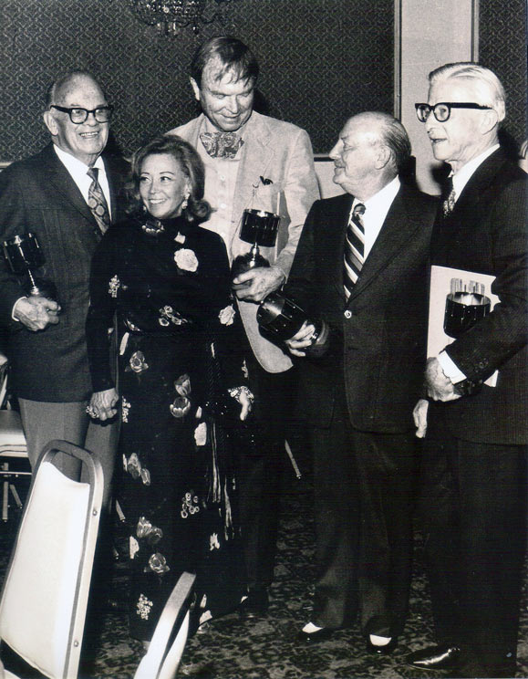 June Foray with (l. to r.) Tex Avery, Chuck Jones, Friz Freleng, and Art Babbitt at the 3rd Annie Awards ceremony, 1974.