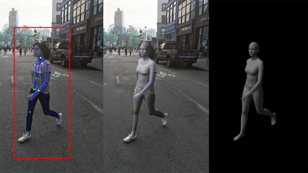 This image illustrates how a human performer's body is analyzed and taken over by a CG avatar.
