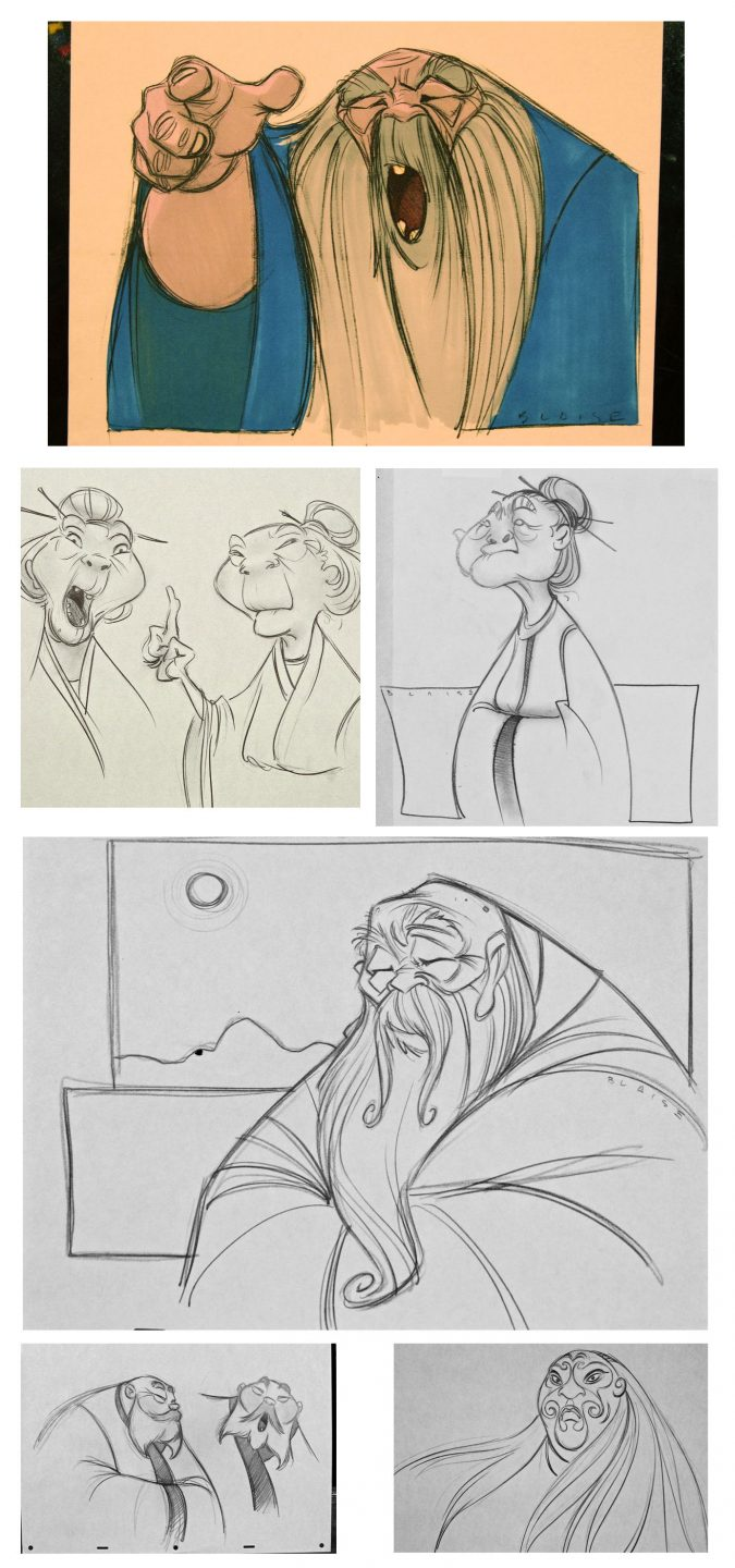 """Early character design sketches by Aaron Blaise of the ancestral ghosts in """"Mulan."""""""
