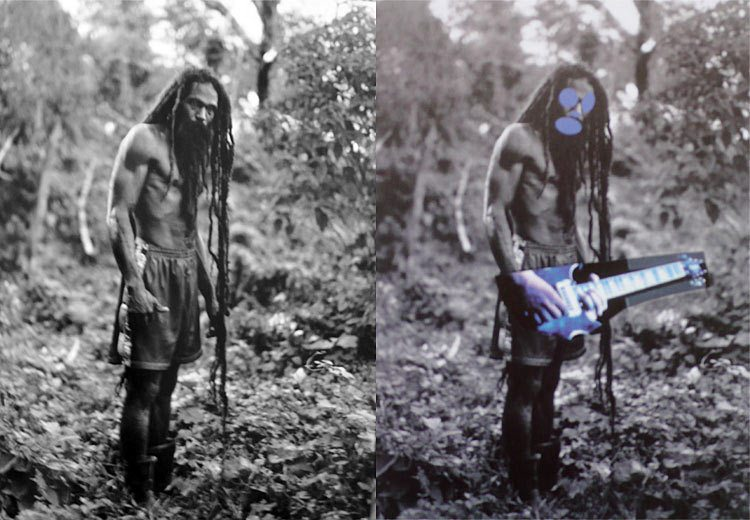 "Patrick Cariou's original ""Yes Rasta"" (left); Richard Prince's ""Canal Zone."""