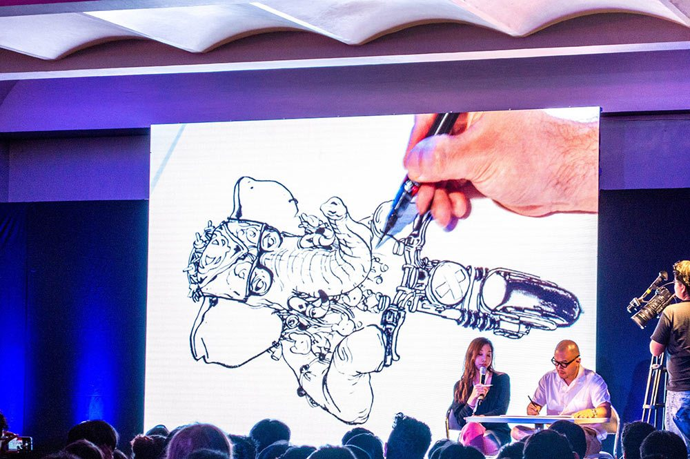 Kim Jung Gi draws during a live demo at last year's Pixelatl.