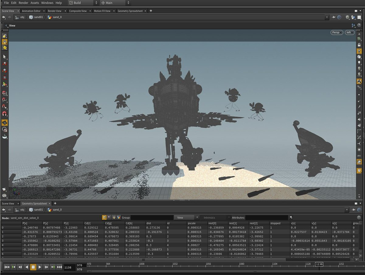 Houdini screenshot for a beach scene.