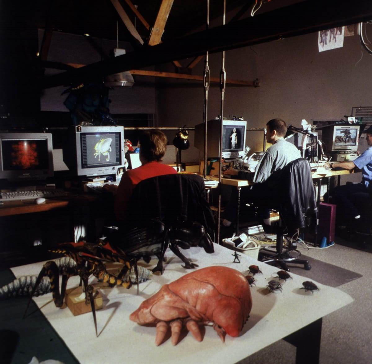 "Inside Tippett Studios during the making of ""Starship Troopers."""