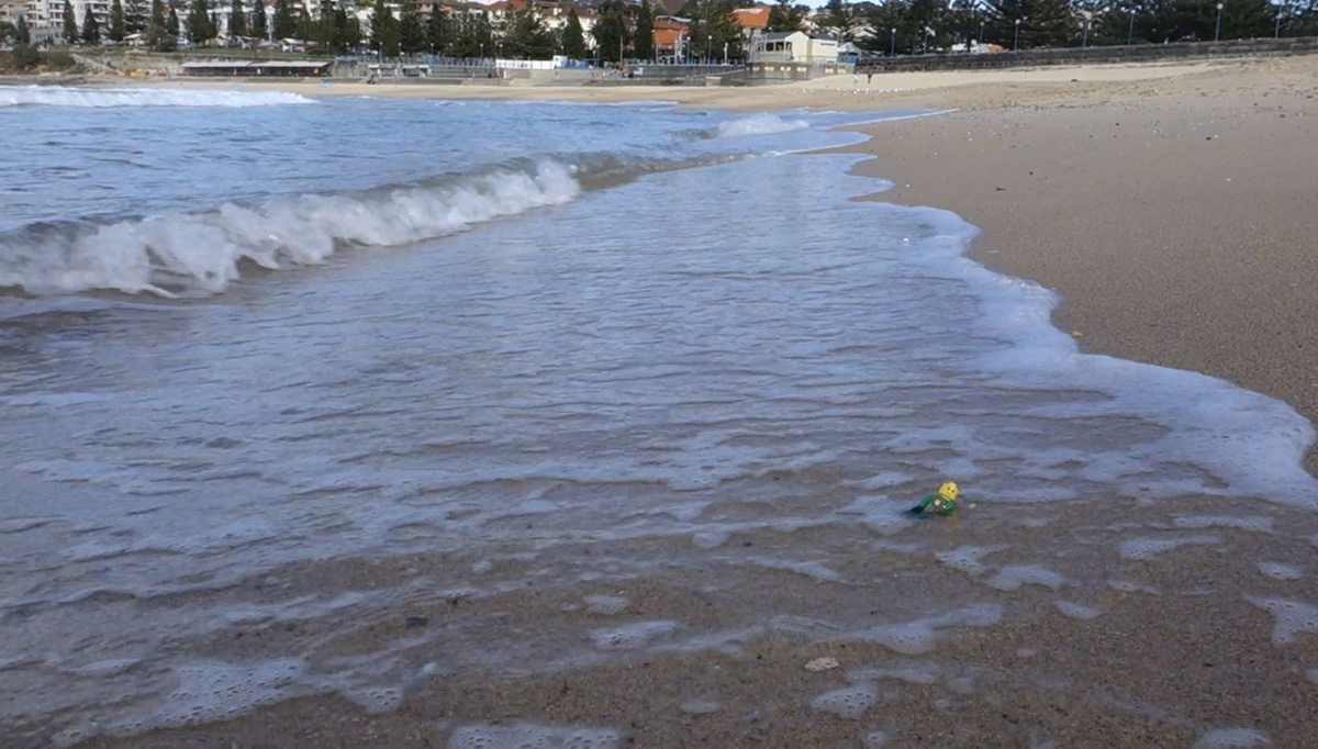 Animal Logic's FX team made a trip to Sydney's famous Bondi Beach and put Lego minifigs amongst the waves to test water and foam interaction.