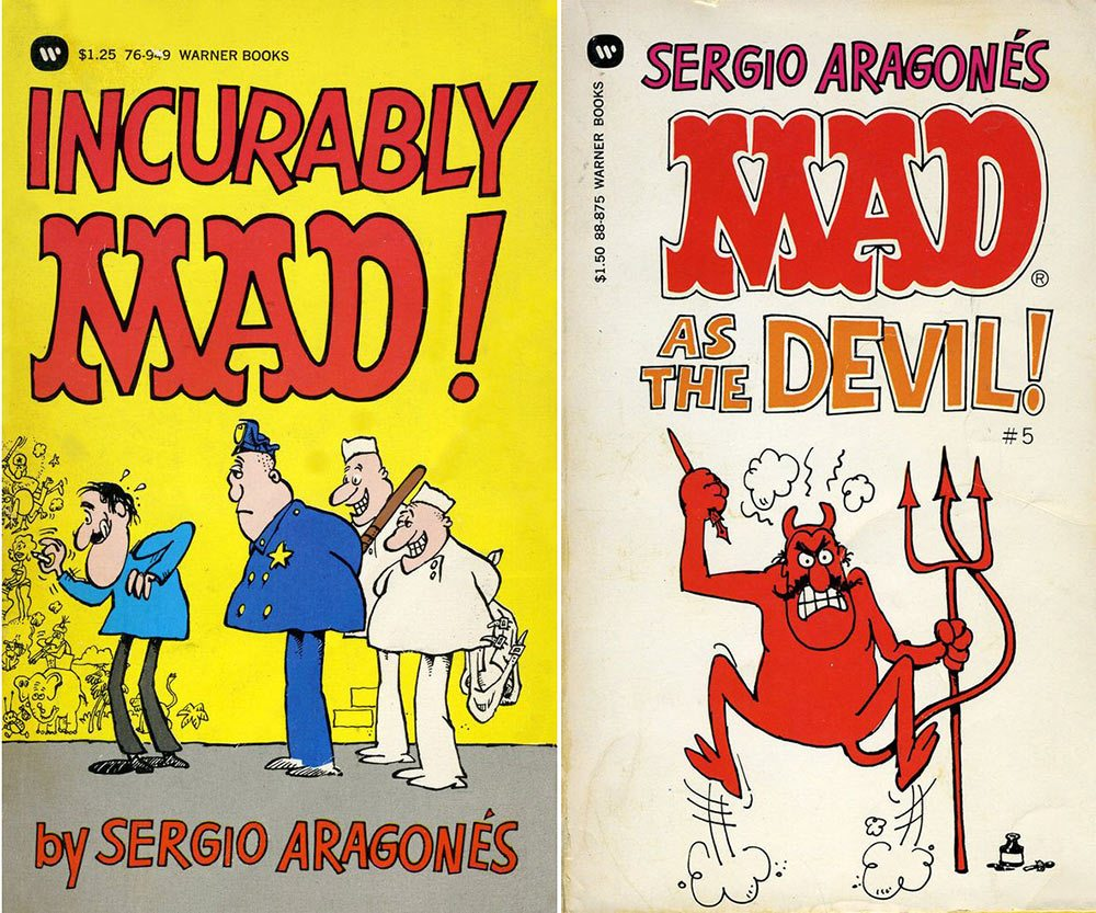 "Paperback collections of Aragonés' work for ""MAD."""
