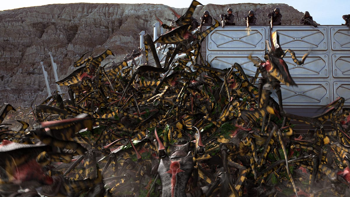 One of the intense marauding shots of the bugs as they attack the outpost.
