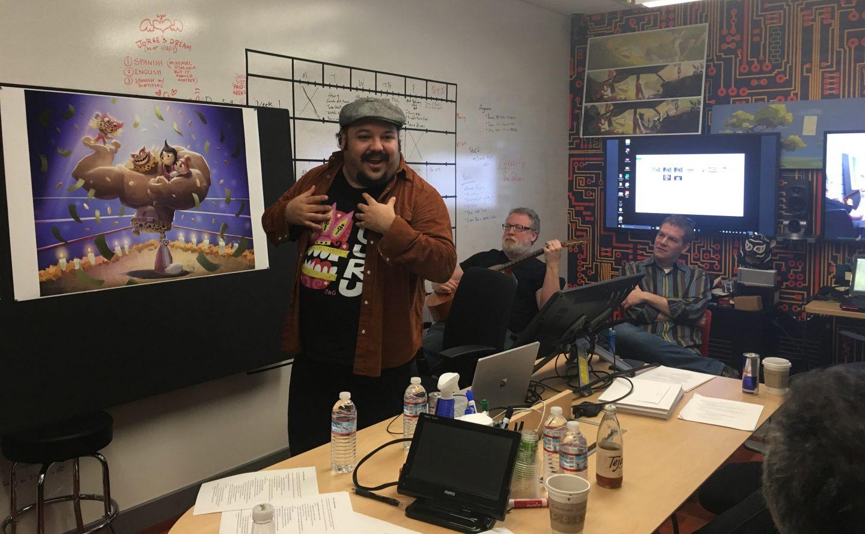 L to R: Jorge Gutierrez; Scot Stafford, creative director, music & sound; David Eisenmann, producer.