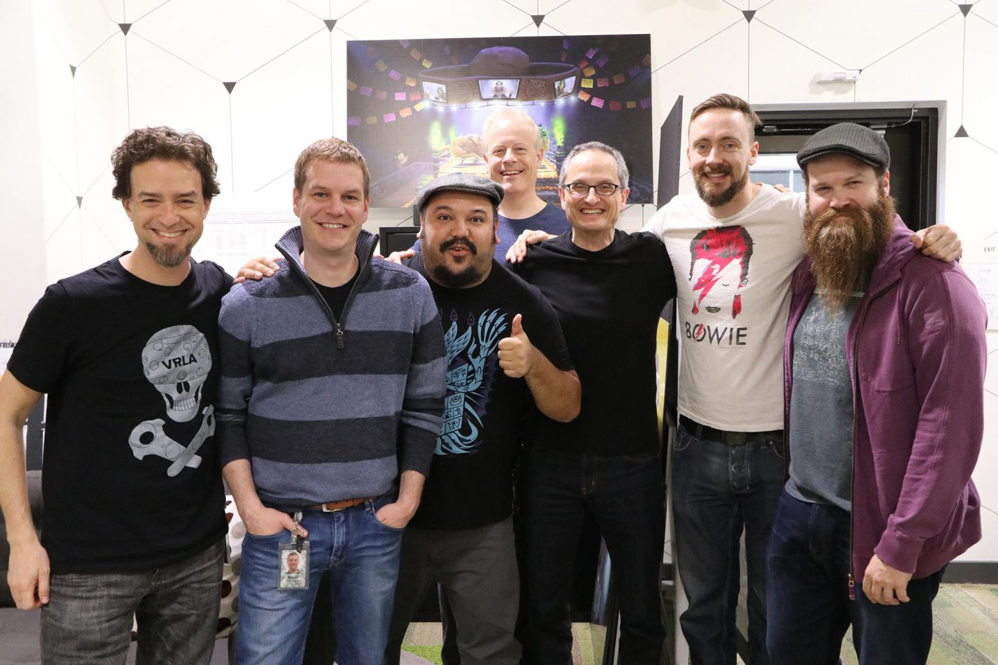 L to R: Cassidy Curtis, technical art lead, Google Spotlight Stories; David Eisenmann, producer; Jorge Gutierrez; Kirk Bodyfelt, producer, Reel FX; Jan Pinkava, creative director, Google Spotlight Stories; Paul Sullivan, production designer; John Anderholm technical supervisor, Reel FX.