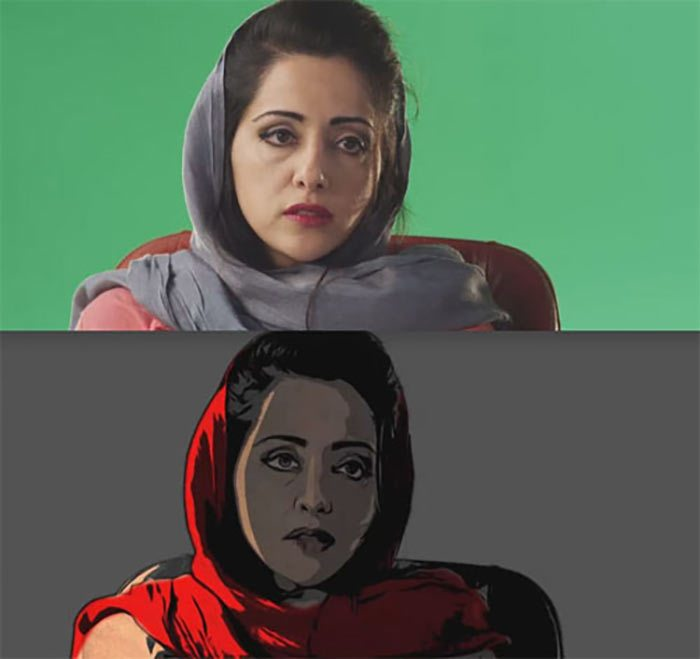 Comparison between greenscreen and final film frame.