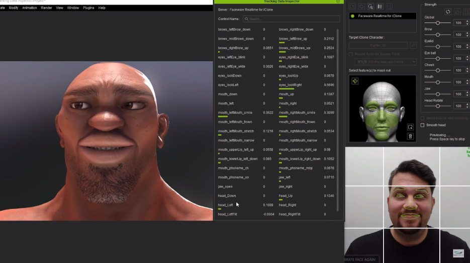 Facial capture using Faceware in iClone 7 can happen in real-time.