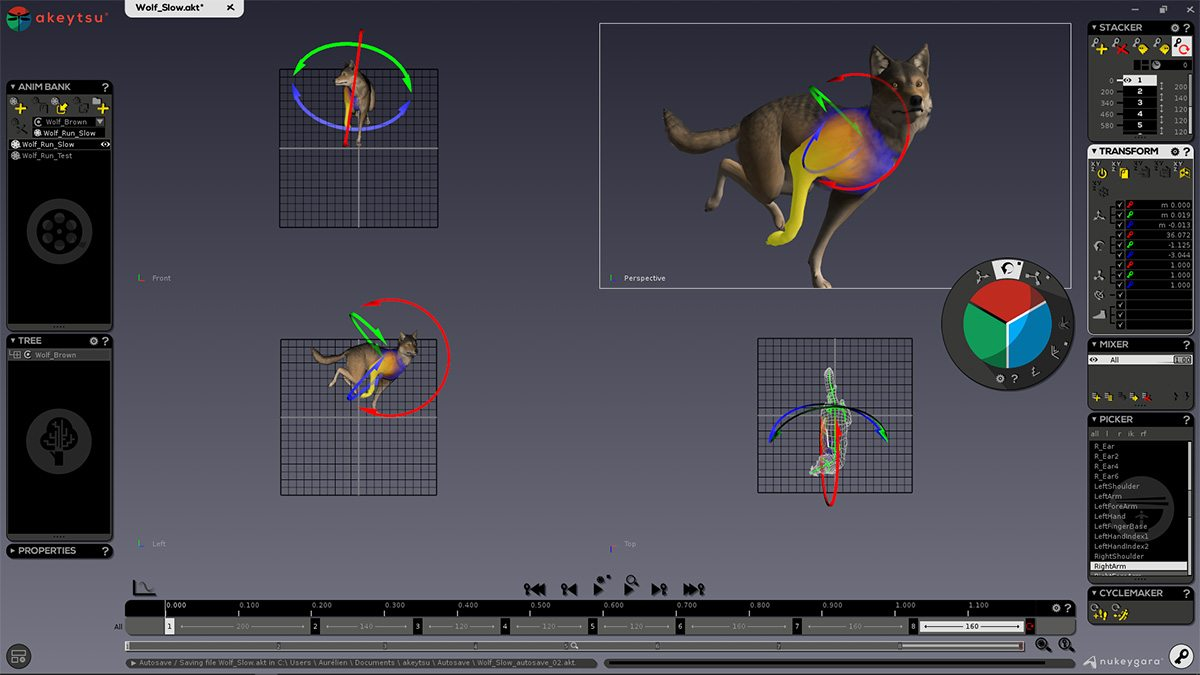 Animating a quadruped.