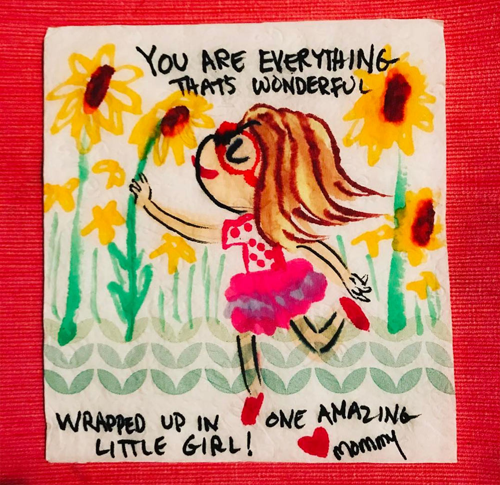 A 'napkin doodle' by Aliki Theofilopoulos. She makes them regularly and includes them in her kids' lunch boxes.