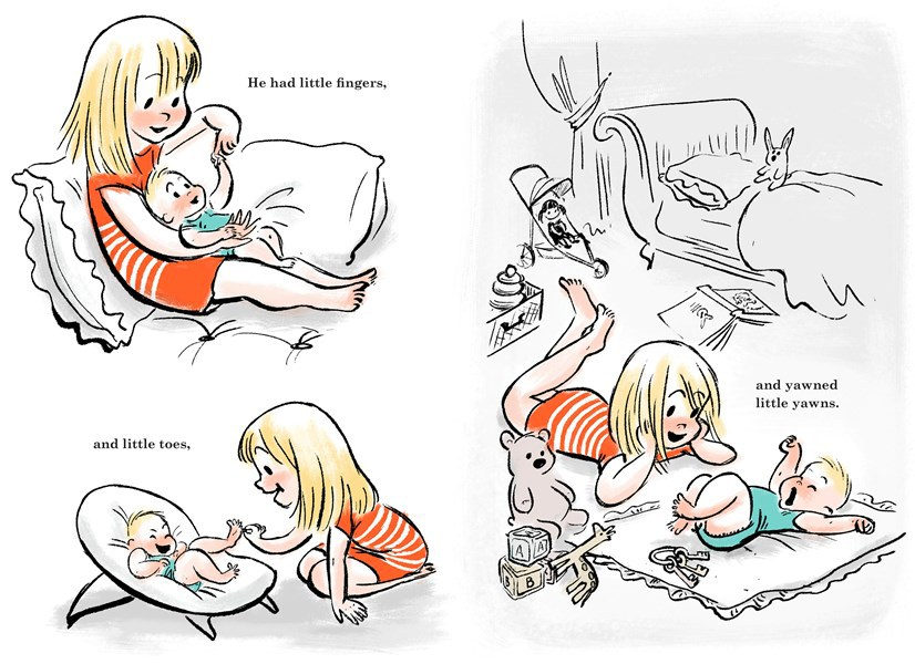 "A spread from the book ""Little Big Girl"" by Claire Keane, that she based on her two children."