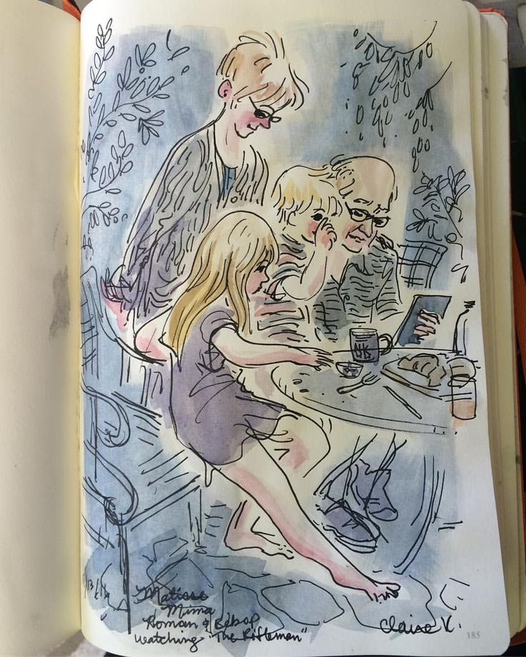 """Watching Westerns with grandparents,"" wrote Claire Keane on her blog. (Keane's father, Glen Keane, is pictured right.)"