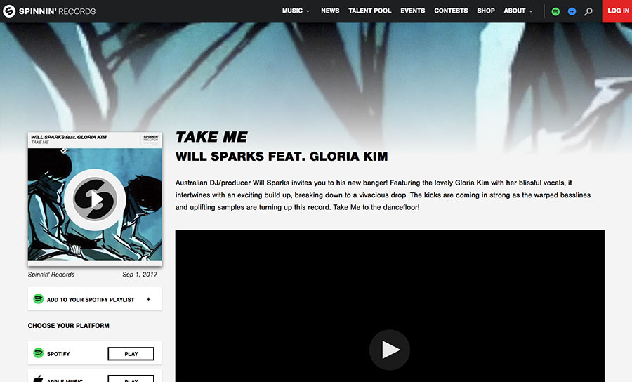 The Spinnin' Records website still uses Ng's work to promote Sparks' music.