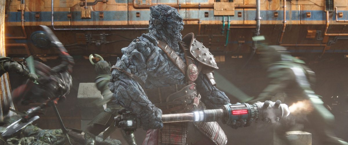 Korg in battle late in the film. Both Framestore and Luma Pictures worked on the character.