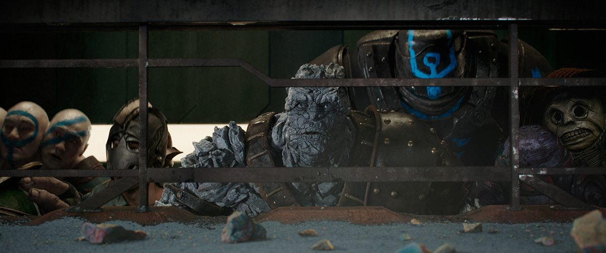 Korg surveys the stadium battle.