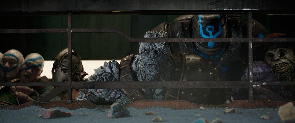 Korg surveys the stadium battle.