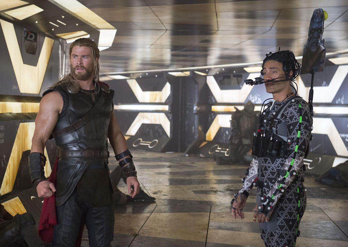 Chris Hemsworth (Thor), and director Taika Waititi as Korg. Image credit: Jasin Boland.