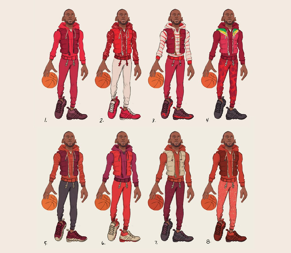 Designs for LeBron James' character.