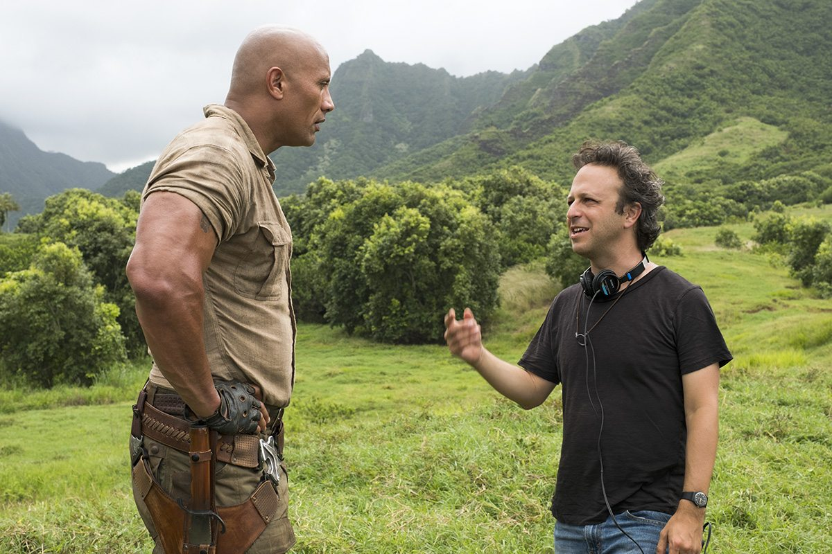 Dwayne Johnson and director Jake Kasdan on set.