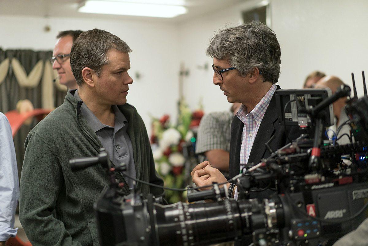 "Matt Damon and director Alexander Payne on the set of ""Downsizing."""