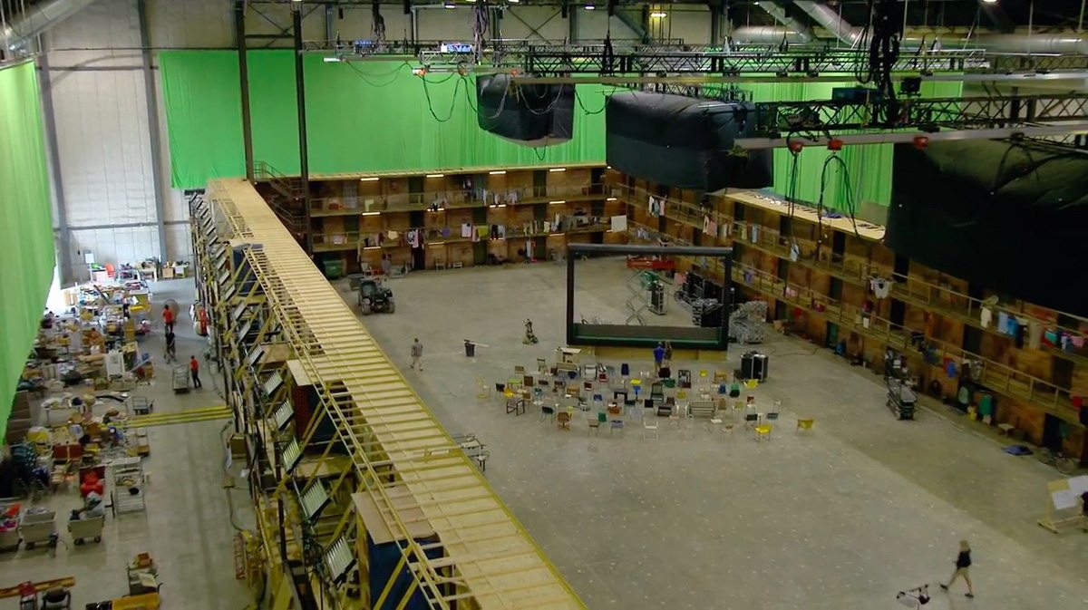 This image from b-roll footage shows the workers' city set.