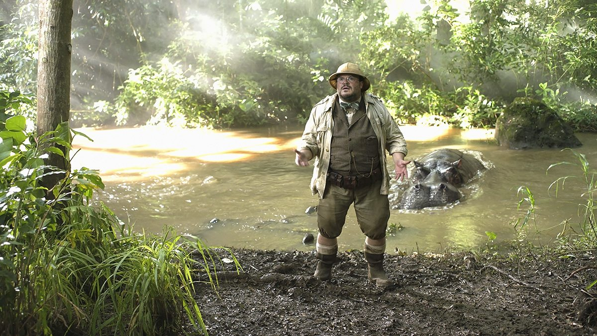 Jack Black is stalked by a hippo, a cg creature by Rodeo FX.