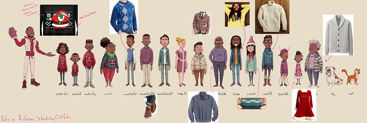 Character designs and sweater choices.