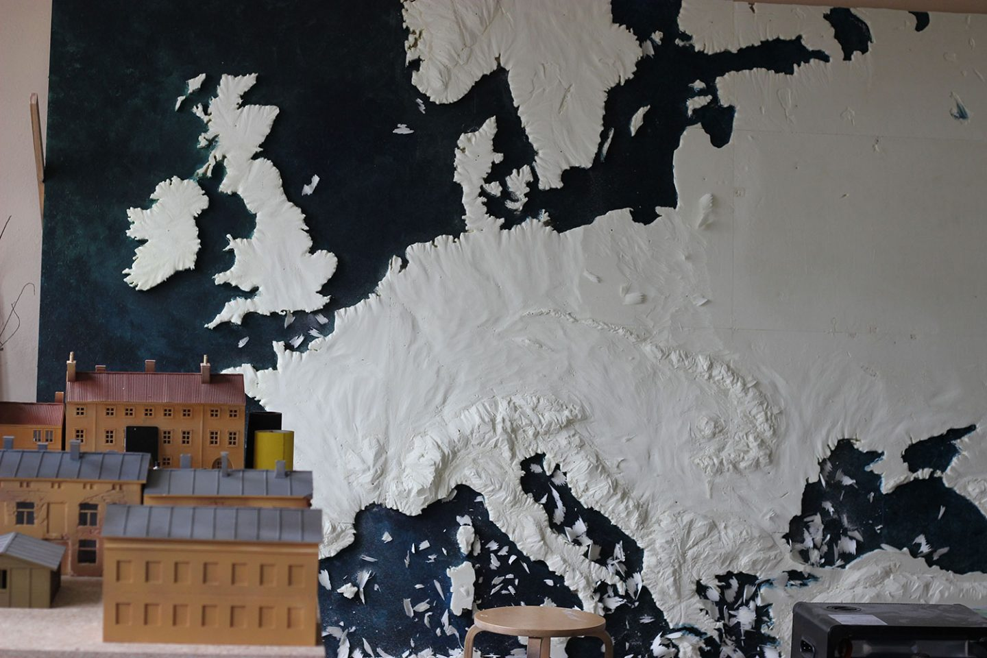 A work-in-progress shot of a three-dimensional map of Europe that will be used in the series.
