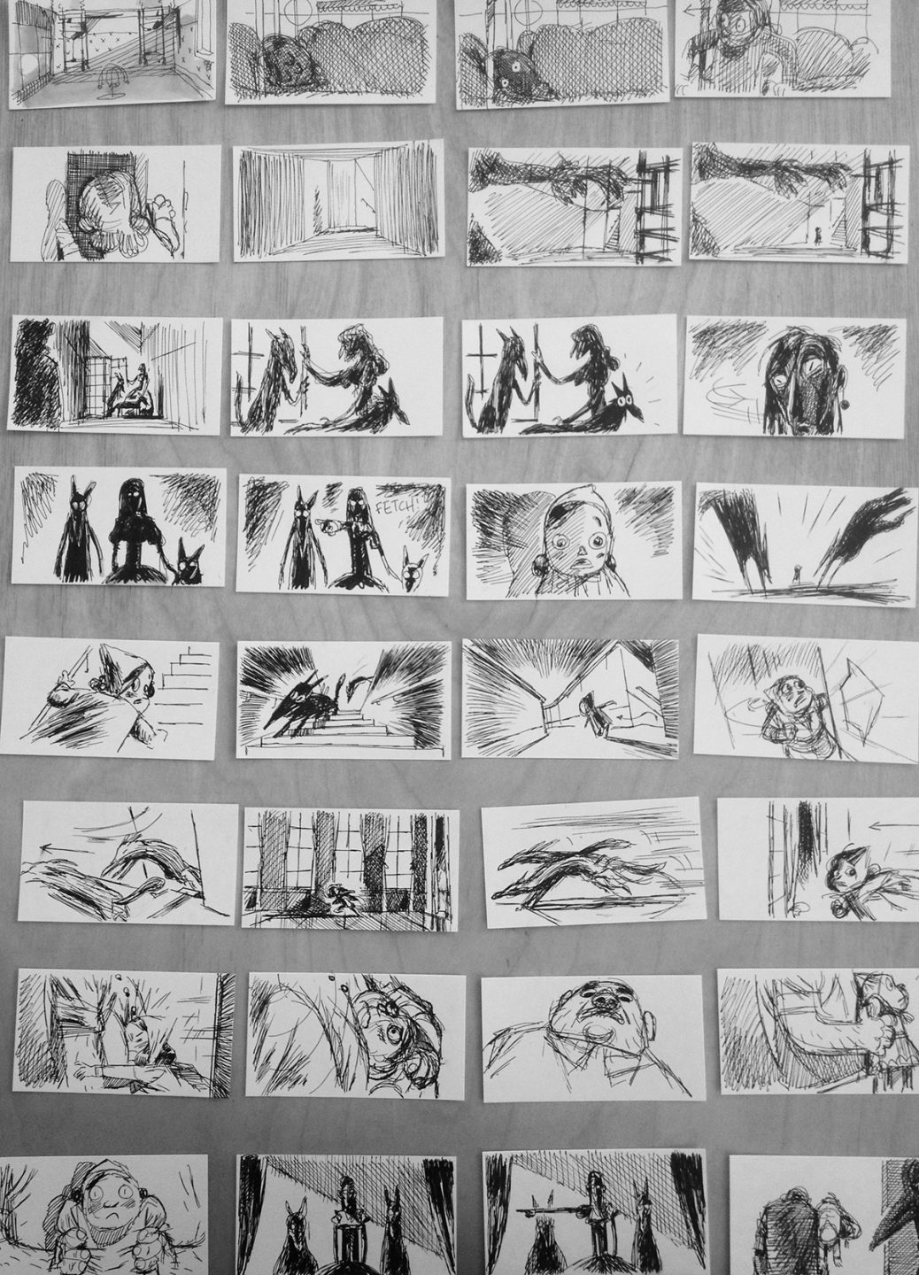 """Early beat board by Jakob Schuh of an ultimately cut sequence from """"Revolting Rhymes."""" All artwork in this piece is property of Magic Light Pictures."""