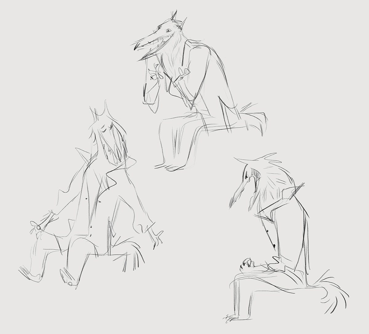 Early concepts for the Narrator Wolf. Artwork by Nadya Mira.