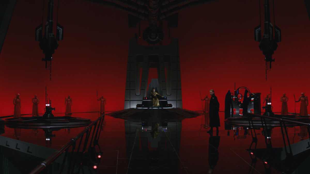Snoke's throne room, in which he greets Rey and Kylo Ren. Image: starwars.com.