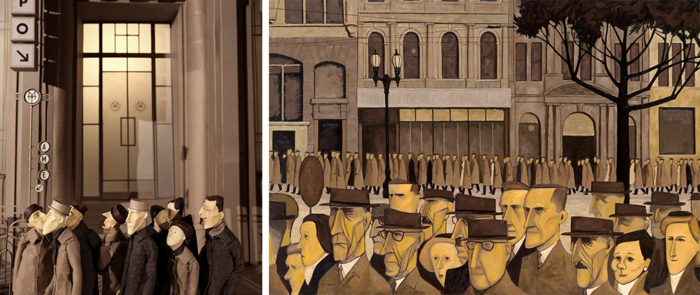 "The film, left, drew visual inspiration from fine artists, like John Brack and his painting ""Collins St., 5 pm,"" pictured right."