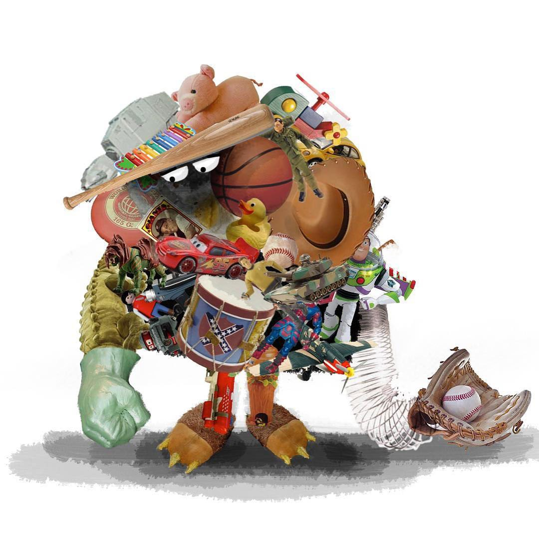 Early photo-collage design of Lou by Dave Mullins. In the short's initial concept, Mullins says, a kid existed underneath the toys. This design reflects that original conception of the story.