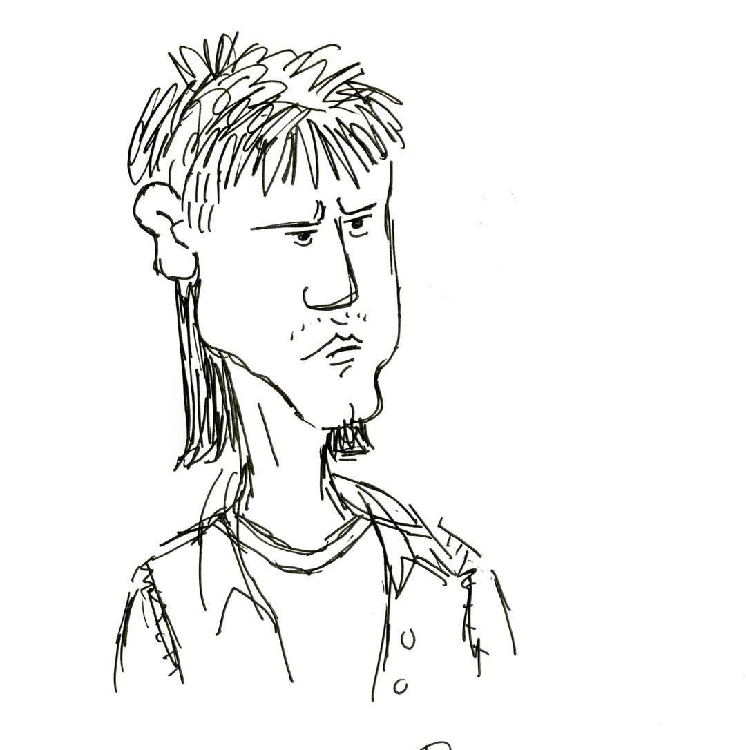 """Early design of J.J. by Dave Mullins. Says Mullins: """" I drew him as a cross between Scut Farkus from 'A Christmas Story' and John Connor's buddy from 'Terminator 2.' He looked too tough though and didn't support the story."""""""