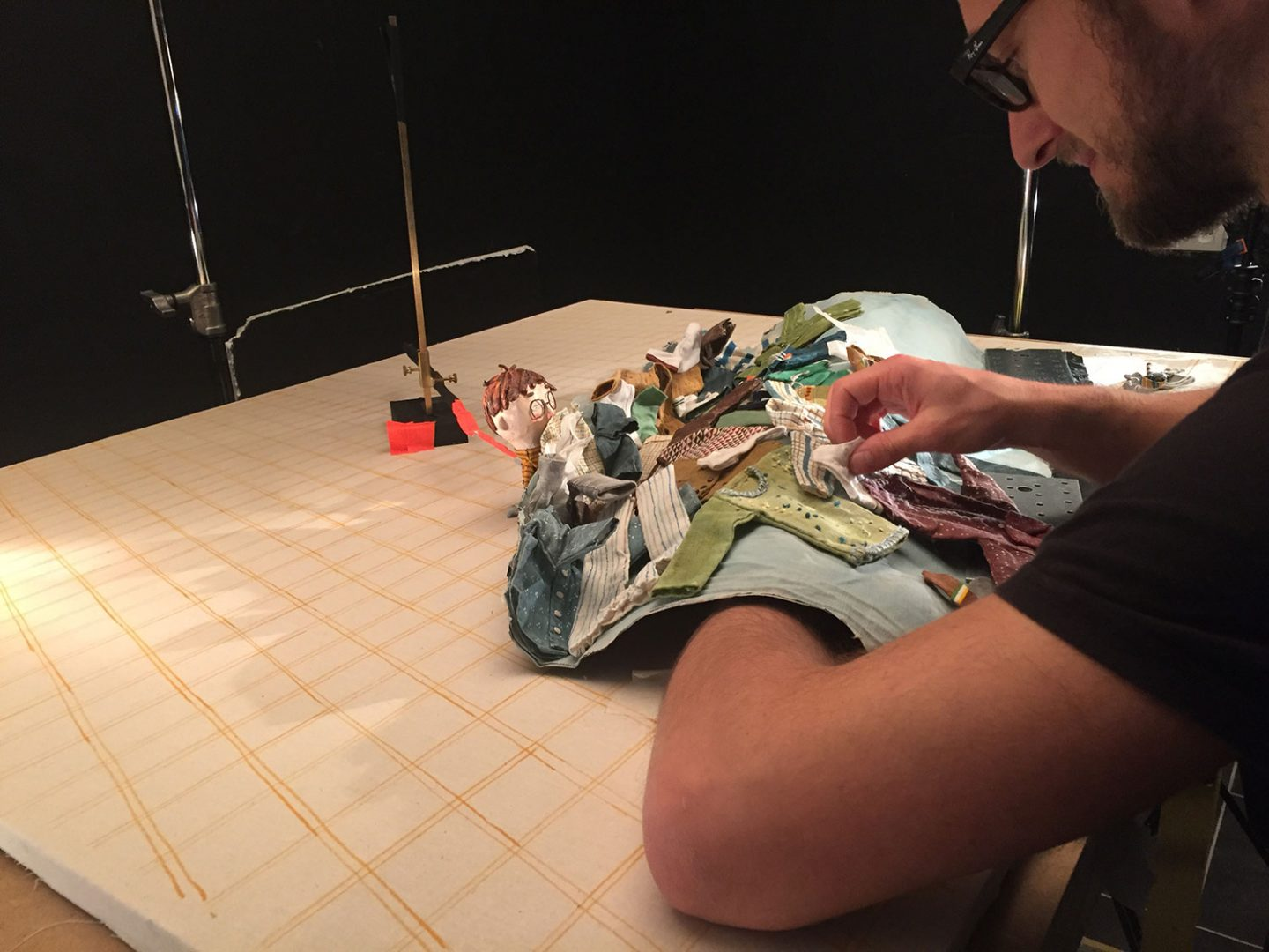 Sylvain Derosne (lead animator) animating the waves of clothes. All images in this piece: © Ikki Films.