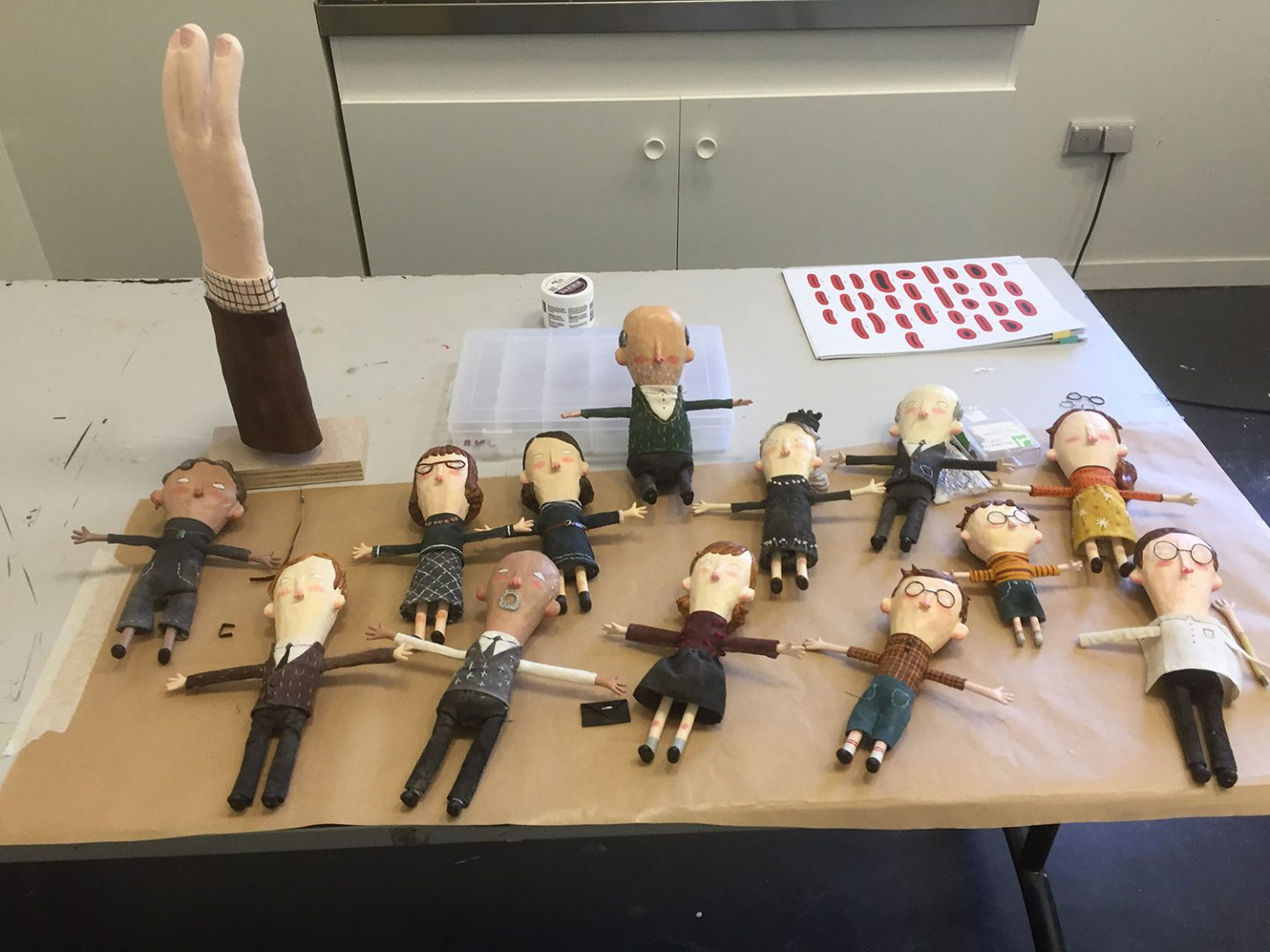 All the background puppets for the funeral scene.