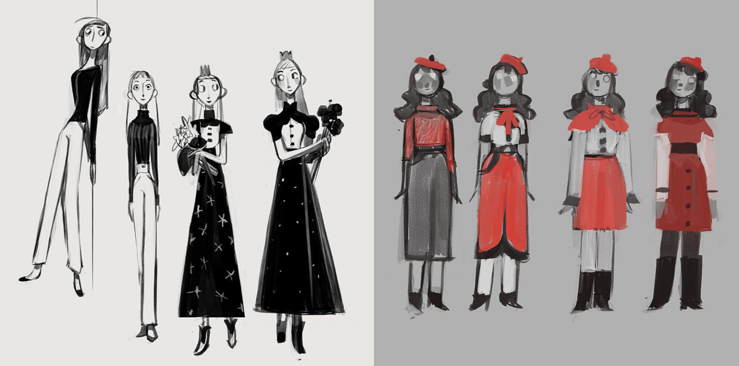Early costume concepts for Snow White and Red by Nadya Mira.