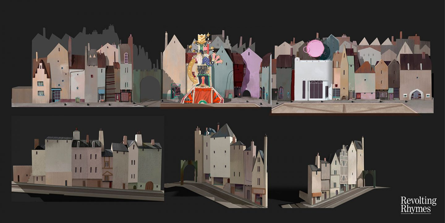 Set painting for the town square by Aurelien Predal.