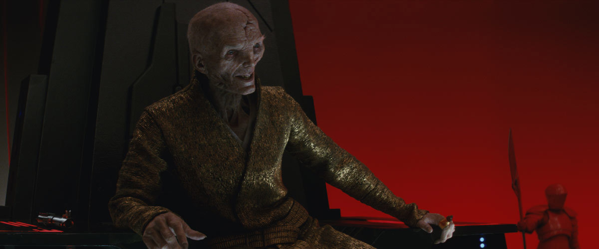 "Snoke in his throne room in a scene from ""The Last Jedi."" Image: starwars.com."