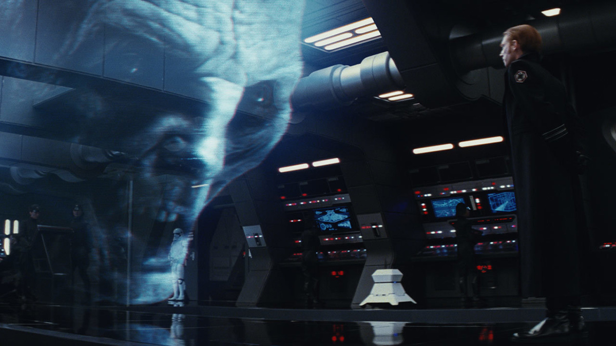 """Snoke's first brief appearance in """"The Last Jedi"""" is in hologram form, but we soon see him in the flesh. Image: starwars.com."""