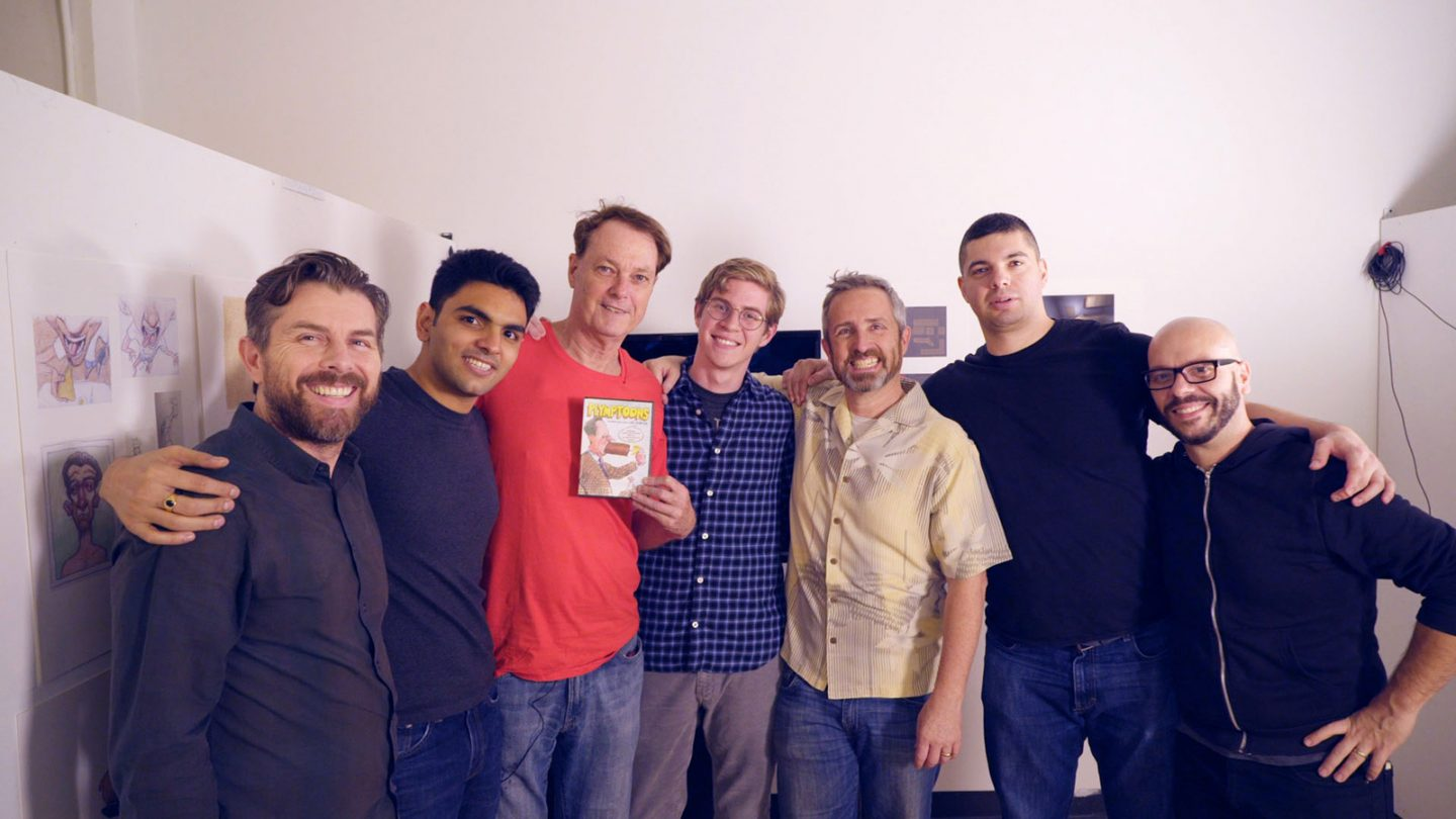 Left to right: Tom Westerlin (technical lead), Ninaad Kulkarni (digital artist), Bill Plympton (director and designer), Chris Ramirez (animator), Terrence Masson (producer), Gonzalo Janer (animator), and Jose Vargas (systems lead).