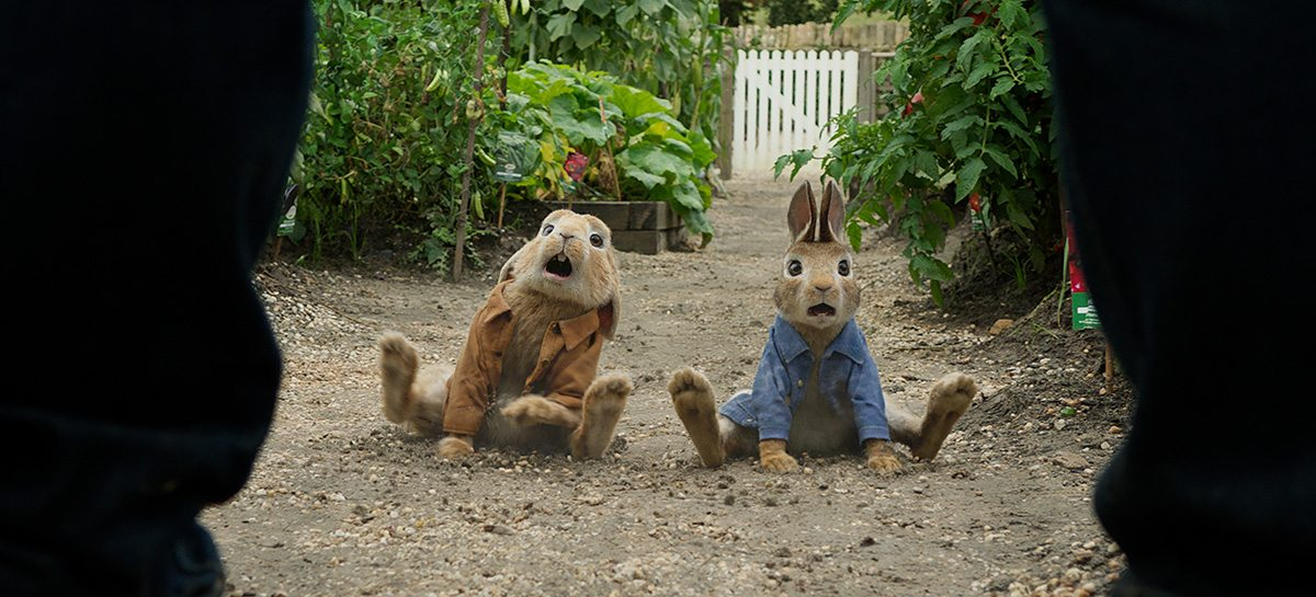 Benjamin (voiced by Colin Moody) and Peter Rabbit (voiced by James Corden).